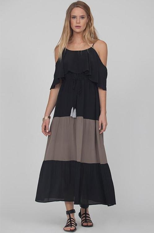 Gold Hawk Color Block Open-Shoulder Silk Dress