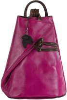 Big Handbag Shop Womens Leather Hand Made Convertible Strap Backpack Shoulder Handbag - Made in Italy with a Branded Protective Storage Bag and Charm (Pink BrownT)