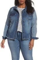 KUT from the Kloth Plus Size Women's Distressed Denim Jacket