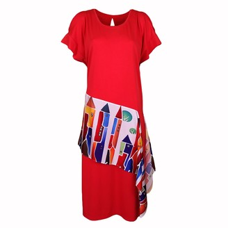 Lalipop Design Coral Red Digital Print Midi Dress