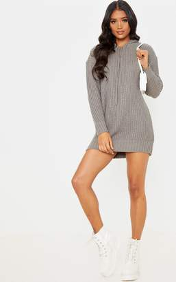 PrettyLittleThing Grey Knitted Hooded Jumper Dress