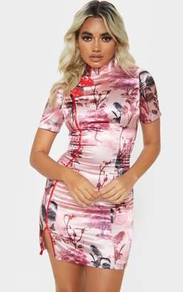 PrettyLittleThing Petite Black Satin Oriental Split Mini Dress