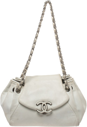 Chanel White Leather CC Accordion Flap Shoulder Bag