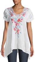 Johnny Was Hinga Georgette Embroidered Tunic, Plus Size