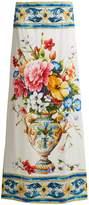 Dolce & Gabbana Majolica-print silk-blend charmeuse skirt