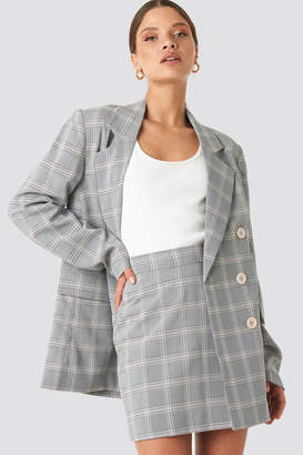NA-KD Light Checkered Double Breasted Blazer Blue