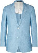 Richard James Light-Blue Seishin Slim-Fit Melangé Linen Blazer