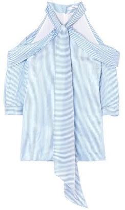 Erdem Elin Cold-shoulder Striped Silk-satin Top