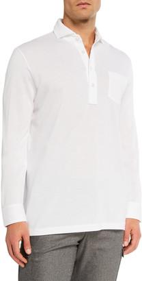 Ralph Lauren Purple Label Men's Washed Long-Sleeve Pocket Polo Shirt, White