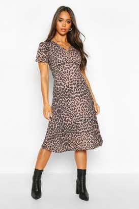 boohoo Leopard Print Ruched Front Midi Dress