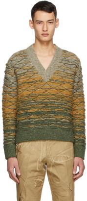 Sean Suen Multicolor Quilted V-Neck Sweater