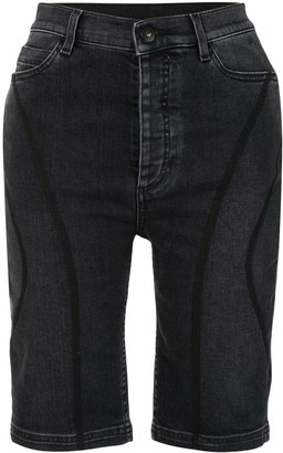 Marcelo Burlon County of Milan Panelled Denim Knee-Length Shorts