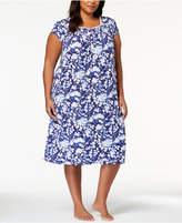Eileen West Plus Size Waltz Lace-Trim Ruffle-Hem Nightgown