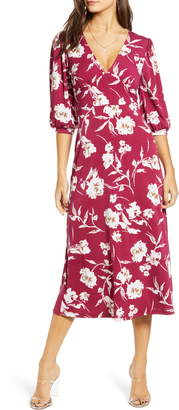 ALL IN FAVOR Print Blouson Sleeve Midi Dress