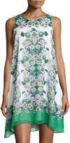 Max Studio Sleeveless Floral-Print Trapeze Dress, Green