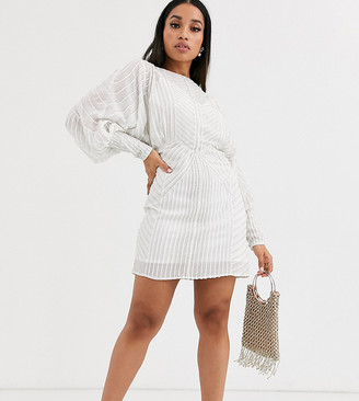 ASOS DESIGN Petite mini dress with blouson sleeve in linear embellishment