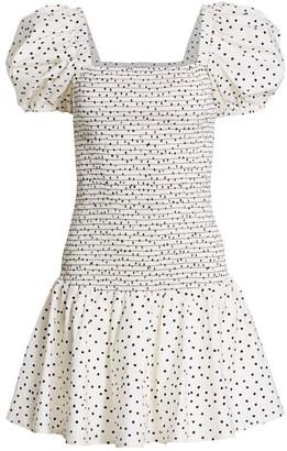 Tanya Taylor Eden Smocked Polka Dot Mini Dress