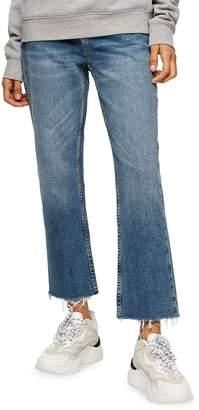 Topshop Mid Raw Hem Straight High Rise Jeans 32-Inch Leg