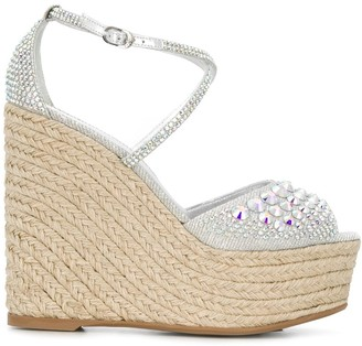 Le Silla Embellished 130mm Wedge Sandals