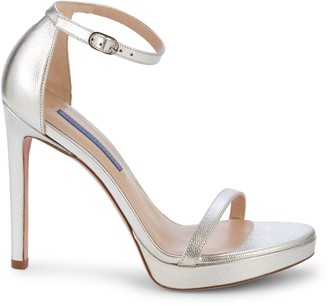 Stuart Weitzman Nudist Disco Metallic Ankle-Strap Sandals