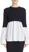 Kenzo Women's Knit Overlay Cotton Blouse
