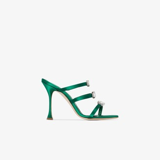 Manolo Blahnik green Nudosa 105 crystal embellished satin sandals