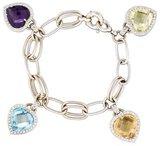 Diamond & Gemstone Heart Charm Bracelet