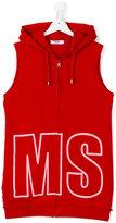 MSGM Teen logo embroidered sleeveless hoodie - kids - Cotton - 14 yrs