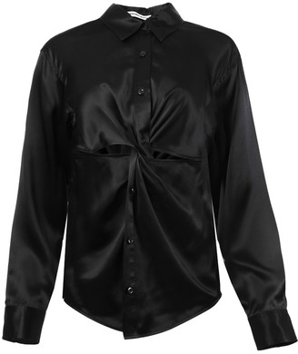 alexanderwang.t Knotted Button-down Blouse Black