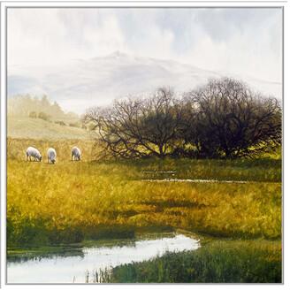 Jonathan Bass Studio Grazing Sheep, Decorative Framed Hand Embellished Canvas