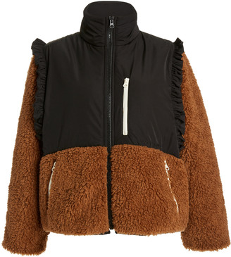 Sandy Liang Mia Shearling and Shell Cropped Coat