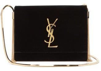 Saint Laurent Kate Small Velvet Shoulder Bag - Black