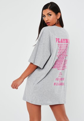 Missguided Playboy X Grey Graphic T Shirt Dress