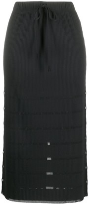 Pleats Please Issey Miyake Drawstring Semi-Sheer Midi Skirt