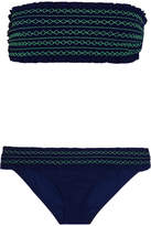 Tory Burch Costa Smocked Bandeau Bikini - Navy