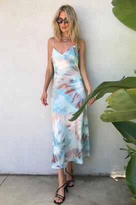 Nasty Gal Womens Right on Tie Dye Slip Maxi Dress - Baby Blue