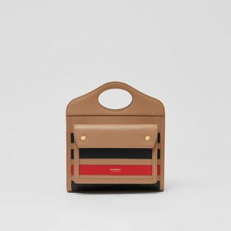 Burberry Mini Striped Intarsia Leather Pocket Bag