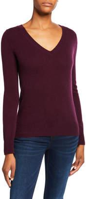 Neiman Marcus Basic Cashmere V-Neck Sweater