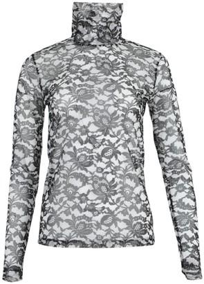 Dries Van Noten Sheer Black And White Floral Top