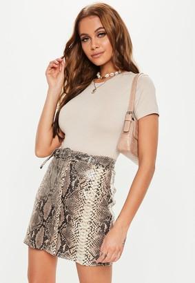 Missguided White Snake Belt Detail Mini Skirt