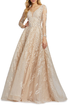 Mac Duggal Long-Sleeve Embroidered A-Line Gown