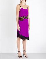 Victoria Beckham Lace-trim silk-crepe dress