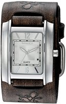 Nemesis Women's 'Square in Square Series' Quartz Stainless Steel and Leather Automatic Watch, Color:Brown (Model: DBVFB013S)