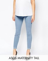 Asos TALL Rivington Denim Jeggings in Candy Light Blue with Turn Ups With Under The Bump Waistband