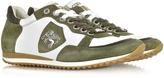 D'Acquasparta D'Acquasparta Venezia White Leather and Green Suede Sneaker