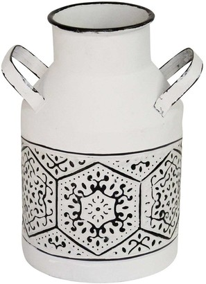 "HomeRoots 10"" Black and White Metal Distressed Vase"