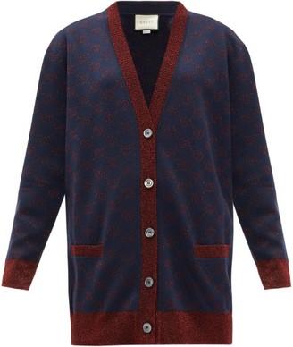 Gucci GG-jacquard Wool-blend Cardigan - Womens - Blue Multi