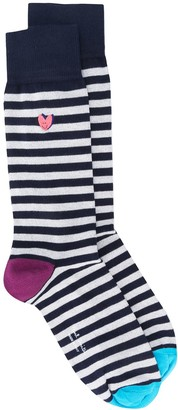 Paul Smith Embroidered-Heart Striped Socks