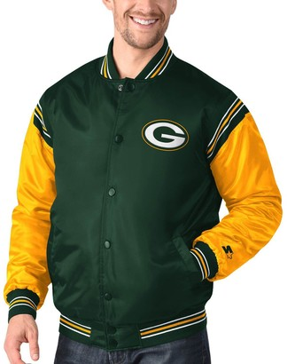 Men's Starter Green/Gold Green Bay Packers Enforcer Satin Varsity Full-Snap Jacket
