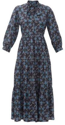 Cefinn Olivia Floral-print Twill Midi Dress - Blue Multi
